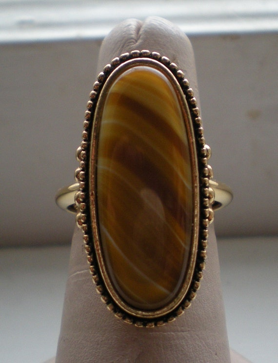 Clearance Sale, Yummy Butterscotch Swirl Vintage 1970s Ring