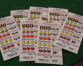 8 Nevada Club Gaming Pull Tabs.  Vintage 25 Cent Gaming Pull Tabs.  Made in USA.   Y-105