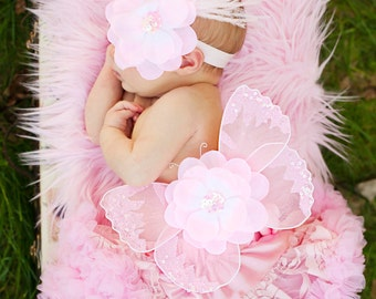 Baby Pink Lace Vintage Newborn Infant Petti Skirt Butterfly Wings & Headband 3 Pc. Set Photography Prop