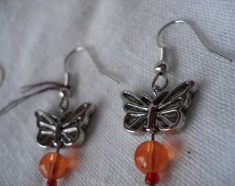 Butterfly dangle earrings orange and red