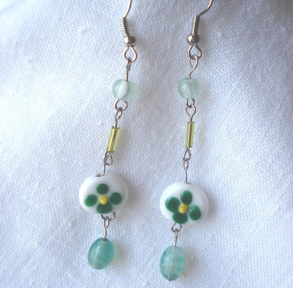 Dangle Earrings with Green Flowered Beads 3 inches Long
