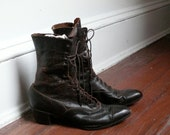 Antique 1900s Leather Lace Up Edwardian Victorian Boots, Shoes Size 5 1/2, 6 Narrow