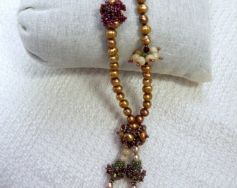 E116 OOAK Beaded Beads Necklace with Pearls - Made by My Hand