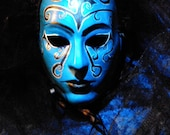 Gothic Hand Painted Blue and Black Masquerade Mask