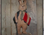 Folk Art Soft Sculpture Librarian Rabbit Little Luxart Library book HAFAIR