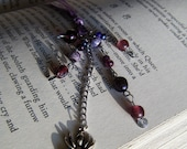 Spider Bookmark Purple and Silver Beaded Book Thong Halloween Party Favor
