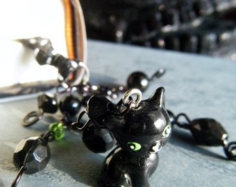 Black Cat Beaded Bookmark Ribbon Book Thong Halloween Cute Charm Witch