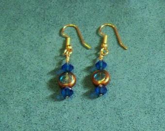 Handmade Earrings Blue Green and Gold Tone Beach Wedding Jewelry Jewellery Gift Guide Women OOAK