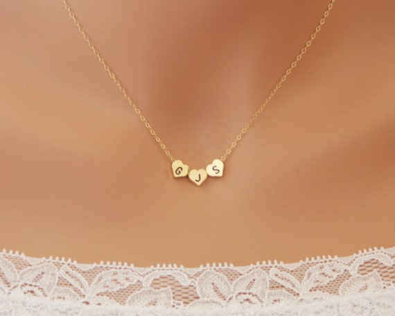 THREE Hearts Initial reversible necklace - wedding bridal jewelry, bridesmaids gifts favor, engraved personalized necklace for mother mom