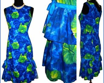 Vintage 1950s Kamehameha Dress//50s Dress// Hawaiian Dress// Wiggle// Femme-Fatale// Mad Men//Desginer Dress//Kamehameha//
