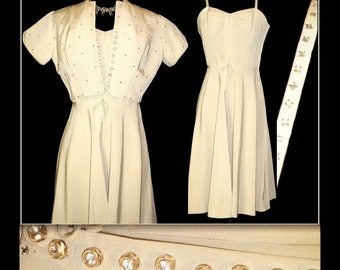 Vintage 1950s Dress//50 Dress// Matching Bolero//Rhinestones//Creme//Party Dress//Wedding//Rockabilly