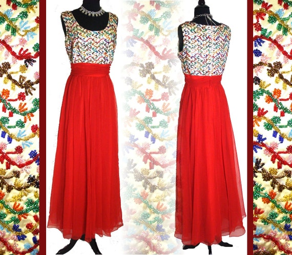 Vintage 1950s Gown Red Beaded Chiffon Designer Evening Formal Cocktail Garden Party Hollywood Mad Man Rockabilly Pinup
