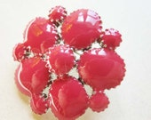"""Fuschia - Watermelon -colored Enameled Brooch -  Cherry-Berry Color - Tidy Small Pin Measuring 1"""""""