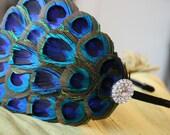 Peacock Feather Headband- Rhinestone, Head Band, Hair Accessory, Headpiece, Hair Piece, Embellished