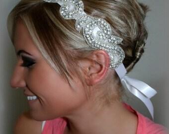 Bridal Headpiece, KIARA, Rhinestone Ribbon Headband,  Wedding Headpiece, Ribbon, Crystal, Accessories, Bridal, Wedding, Hair Accessory