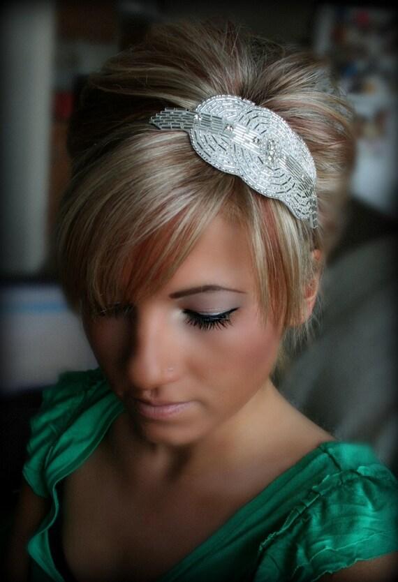 Crystal Bridal Headband with Rhinestone Beaded Circular Motif