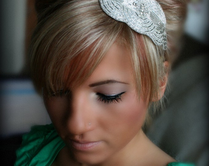 Crystal Bridal Headband with Rhinestone Beaded Circular Motif