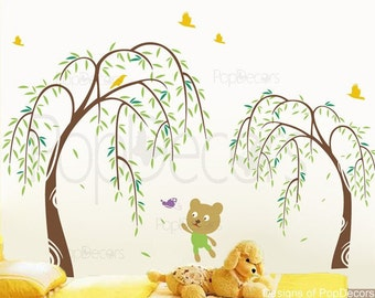 "Willow Trees Decal Kids Bear Wall Sticker Butterflies Child Playroom Wall Decor- Willow and Bear(68"" H) -Designed by Pop Decors PT-0070"