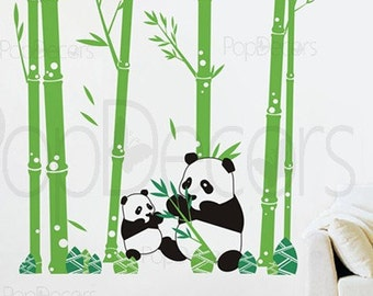 """Panda Wall Decal Bamboo Trees Decal Baby Wall Decors Nursery Decal- Pandas love Bamboo (79"""" tall ) -Designed by Pop Decors PT-0074"""
