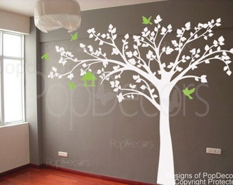 "Nursery Tree Decal Kids Tree Playroom Vinyl Sticker Nature Design- Big tree with love birds(88"" W) -Designed by Pop Decors PT-0116-1"