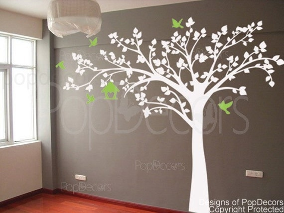 Wall decor stickers white tree : Nursery wall tree decals art baby room decors kids decal
