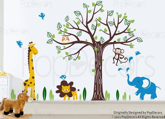 Custom for Anna - Kids Wall Sticker Wall Decal Nursery Decal-Happy Zoo- Children Wall Decals by Pop Decors