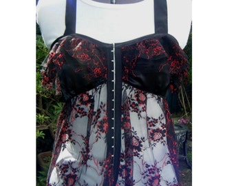 goth Lolita top black satin and lace halterneck top. black lace with red roses