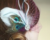 Natural Peacock and White Goose Feather Hair Clip and Bridcage Veil