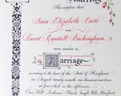 Marriage Certificate Custom Painting to match your Wedding Theme.  Modern Style.