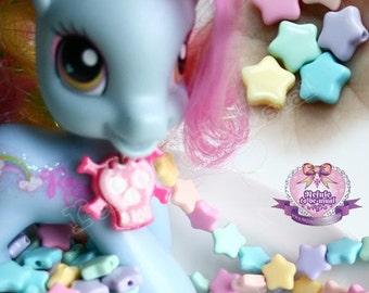 465pcs Star Shapped Decora Kawaii DIY Pastel Candy Acrylic Plastic Tablet Bead 6 colors Mix (pink, lavender, yellow, aqua, mint, peach)