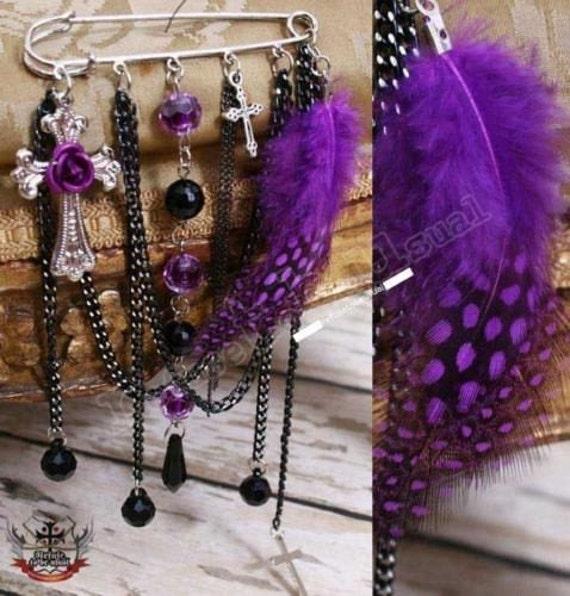 EGL Lolita Dotted Purple Feather Gem Brooch Pin accessory
