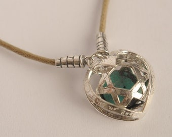 3 Dimensional Silver Magen David( Star of David) Silver Caged In A Haert Shaped Pendant