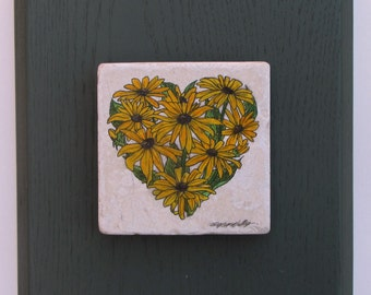 Black-Eyed Susan Heart created on Italian Mable and mounted on a painted Red Oak plaque