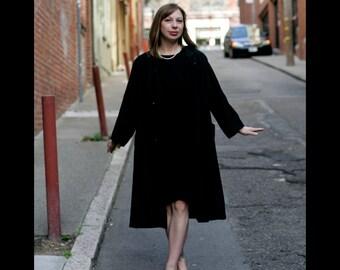 Vintage Evening Swing Jacket, Black Dupioni Silk Coat, M to L