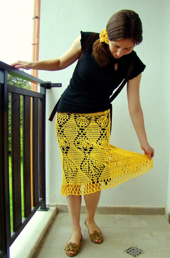 Bright yellow pineapple crochet long skirt with a black pad and yellow flowery rubber band