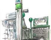 New York Sketch Subway Sign - print from an original watercolor pen and ink sketch