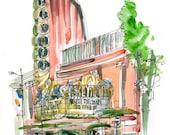 San Luis Obispo, Art Deco Theater, a watercolor sketch in dusty pink