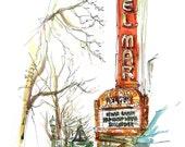 Santa Cruz Del Mar Art Deco Movie Theater, california Watercolor Sketch in red, yellow and burnt orange - archival print