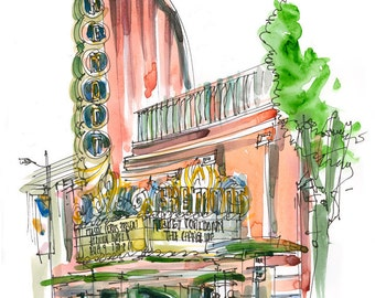 San Luis Obispo, Art Deco Theater, a watercolor sketch in dusty pink