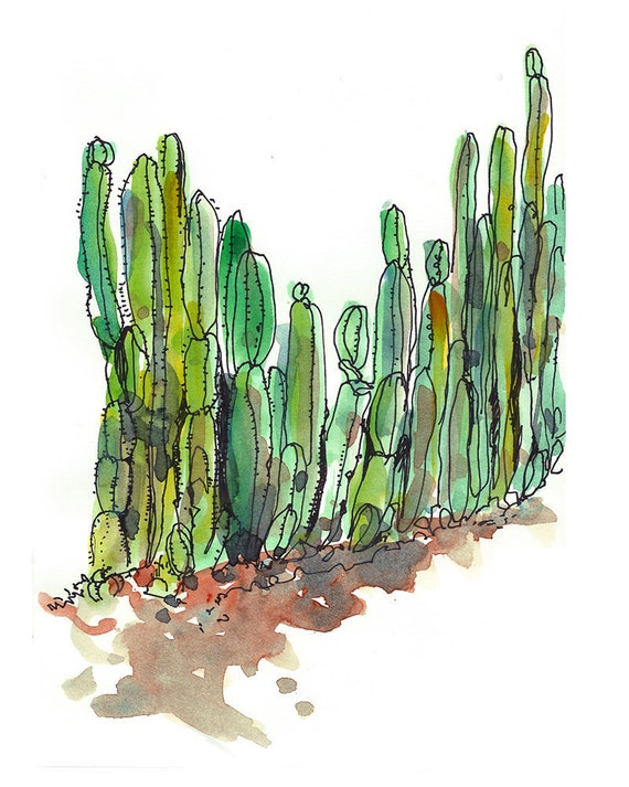 Emerald Green Succulent sketch Cactus fence  - fine art print from an original watercolor sketch