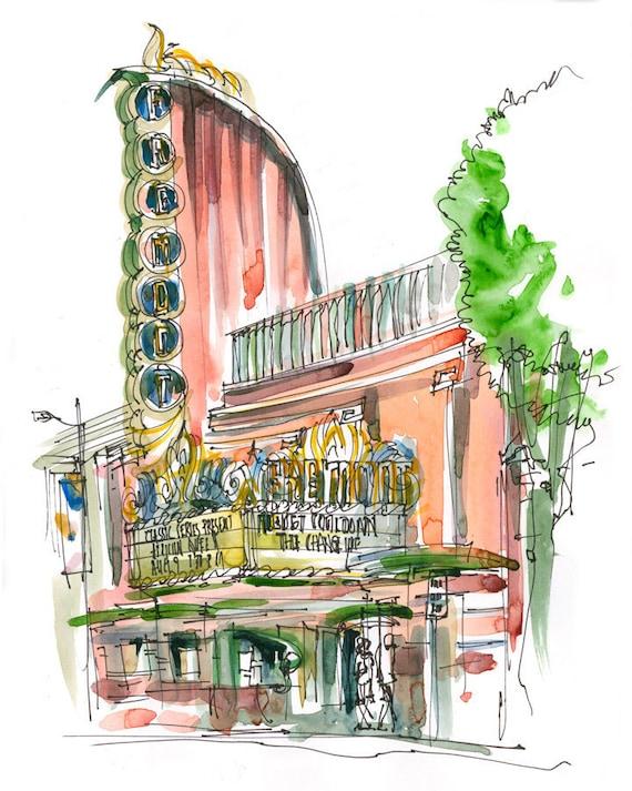 San Luis Obispo, Art Deco Theater, a watercolor sketch in dusty pink  - 8x10 print