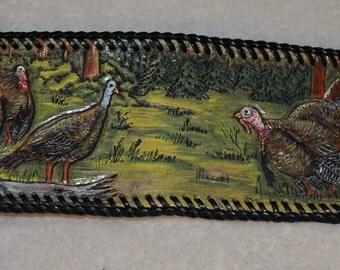 Men's leather wallet turkey scene