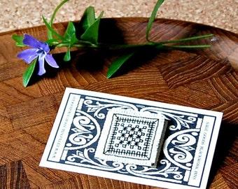Blackwork Lapel Pin Black & White Jewelry Graphic Stitched Stickpin