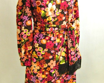1960s pop art flowers day dress with matching scarf - size L-XL - mod work wear - princess seams -  long sleeves