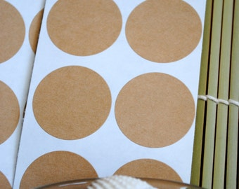 "10 Blank Kraft round labels/seals (2"")"