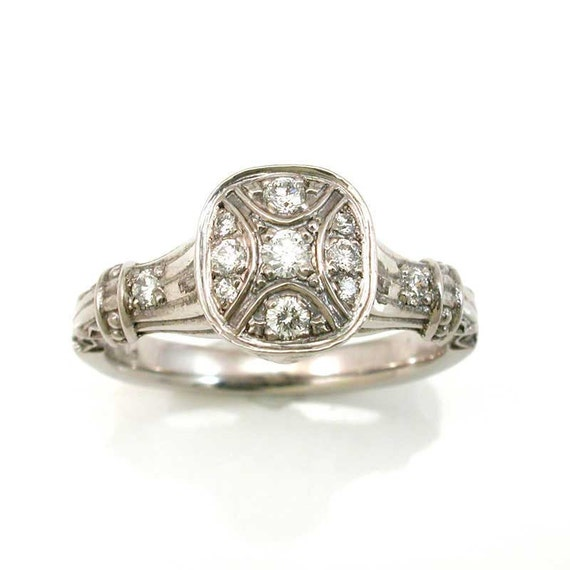 Items similar to Antique Styled Engagement Ring 14k Palladium White Gold an