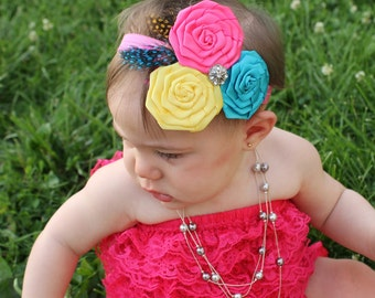 Baby Toddler Girl Boutique Fancy Triple Hot Pink, Yellow and Turquoise Blue Flower Roses Rhinestone, Feather Accents on Headband Photo Prop