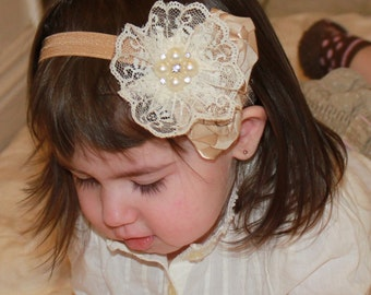 Tan Ivory Boutique Triple Roses Lace Flower on Elastic Headband Photo Prop- Many sizes available