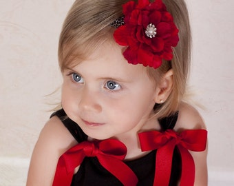SALE Red Boutique Flower on Leopard Print Elastic Headband Photo Prop - Many sizes avaialble