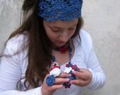 HairBand -Crochet HeadBand -Hair Accessories - Hand Crochet Headband - Denim Blue